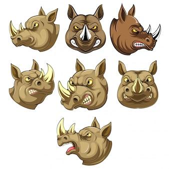 Ustaw kolekcję maskotki głowy zły nosorożec