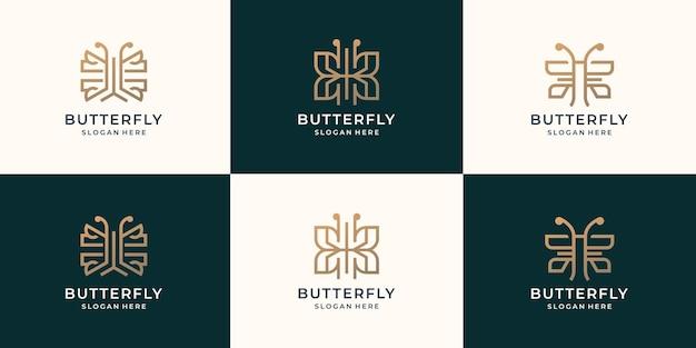 Ustaw kolekcję minimalistyczny szablon logo motyl. inspiracja logo luksusowego motyla, złoty kolor.