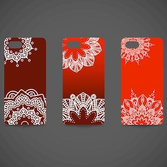 Ustaw kolekcję okładek telefonu. ręcznie rysowane etniczne element dekoracyjny - islam, motywy arabskie, indyjskie, osmańskie. ilustracja wektorowa eps 10 dla swojego projektu.
