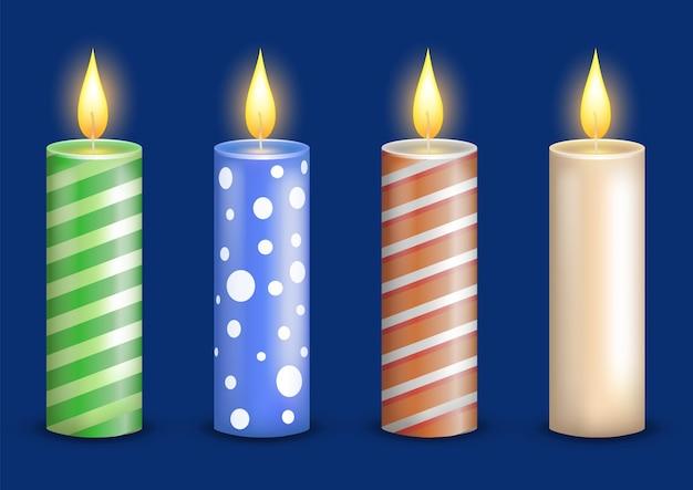 Ustaw kolekcję realistycznych kolorowych świec