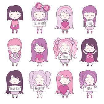 Ustaw kolekcje ślicznych dziewczyn trzymających serca i ramki.