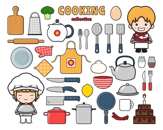 Ustaw kolekcję słodkiego szefa kuchni z obiektem clipart doodle ikona kreskówka ilustracja płaski styl kreskówki