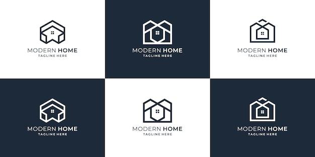 Ustaw kolekcję szablonów projektów logo nieruchomości. nowoczesne logo domu, nieruchomości, budownictwo, budowniczy.
