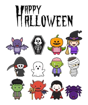 Ustaw kolekcję uroczych halloweenowych znaków celebracji ikony kreskówka clipart ilustracja projektu