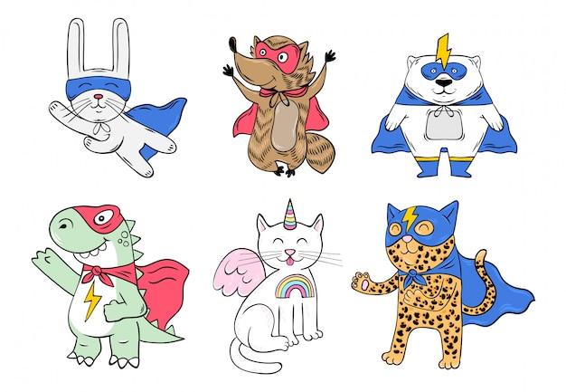 Ustaw kolekcję uroczych postaci, zwierząt superbohaterów w masce i płaszczu z super mocą. kreskówki doodle ręka rysująca ilustracja.
