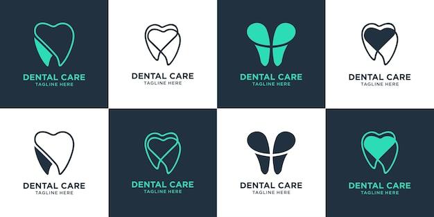 Ustaw kolekcję wektorów dentystycznych projektu logo