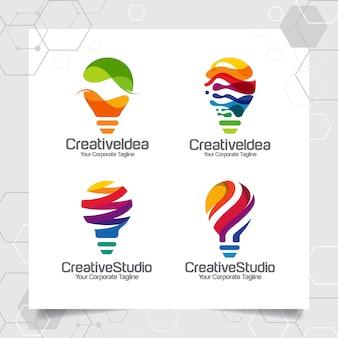 Ustaw kolekcję żarówka logo szablon projektu pomysł