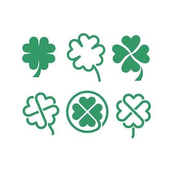 Ustaw kolekcję zielonej koniczyny ikona logo