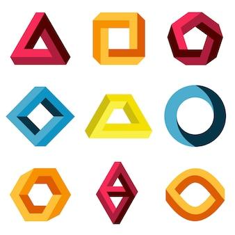 Ustaw kolor niemożliwe kształty. logo firmy kreatywnej figury. ilustracji wektorowych