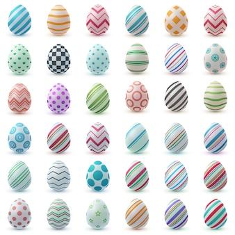 Ustaw kolor realistyczne jajko. wesołych świąt wielkanocnych