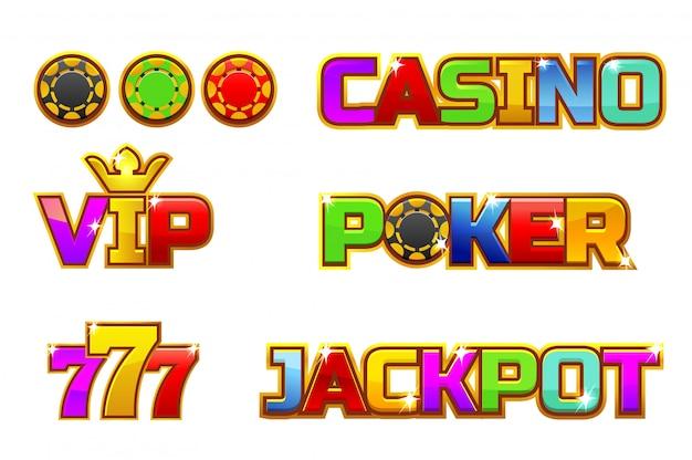Ustaw kolorowe logo jackpot, poker, 777, casino i vip. złote żetony