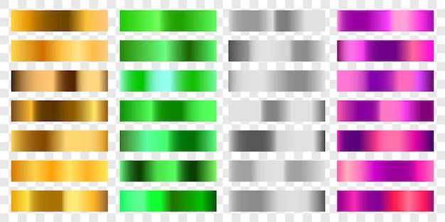 Ustaw kolorowe pastelowe gradient chrom kolor folii tekstury tła. wektor złoty, miedziany mosiądz i metalowy szablon.