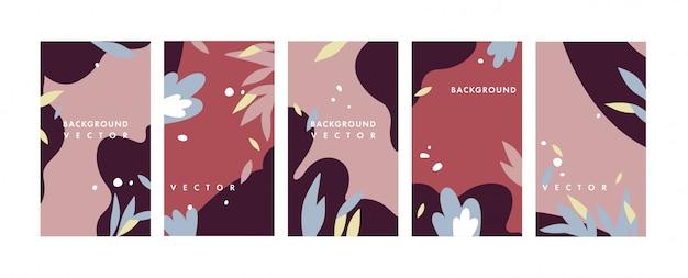 Ustaw kolorowe tła szablonów - tapety z historii mediów społecznościowych. może być używany jako banery, plakaty, szablony okładek.