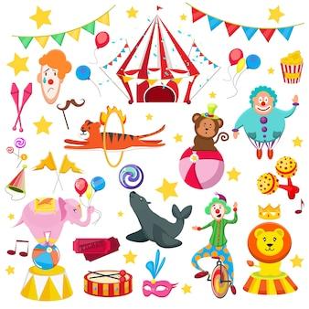 Ustaw kolorowe zdjęcie cyrkowe. lwie tygrysie pieczęcie z piłką, tygrys wisi przez płomienie, klaun kulki małpy, śmieszne czapki pyszne słodycze, flagi, bilety, popcorn.