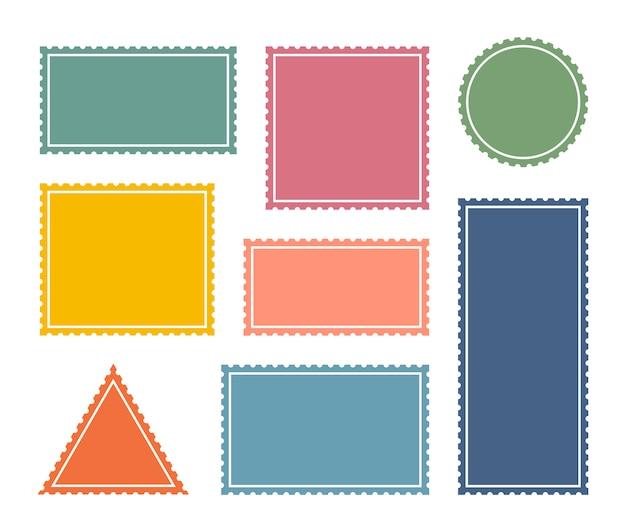 Ustaw kolorowy pusty znaczek pocztowy. szablon naklejki pocztowe ząbkowane granicy wysyłki.