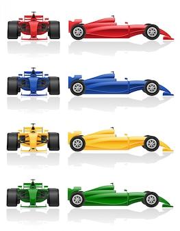 Ustaw kolory ilustracji wektorowych f1 samochodu wyścigowego