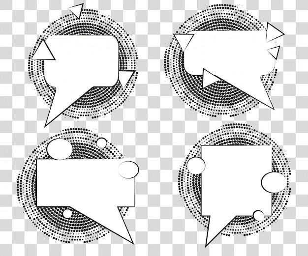 Ustaw komiks dymki z cieniami trójkątów półtonów.