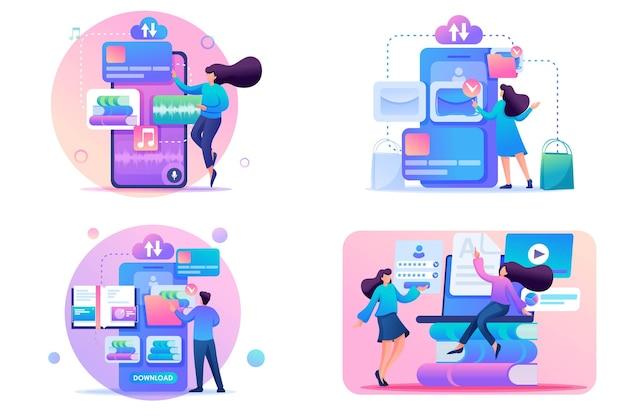 Ustaw koncepcje 2d flat wybór książek do nauki i rekreacji za pośrednictwem aplikacji mobilnej