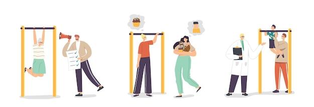 Ustaw koncepcję osobistego treningu. postacie ojca, matki, syna i dziadka ćwiczące na świeżym powietrzu. syn z tatą na poziomym pasku. lekarz i dietetyk pomagają ludziom. ilustracja kreskówka wektor