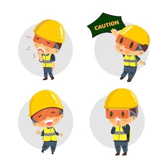 Ustaw konstruktora postaci w różnych sytuacjach. ilustracja, koncepcja: bezpieczeństwo i wypadek, bezpieczeństwo przemysłowe.