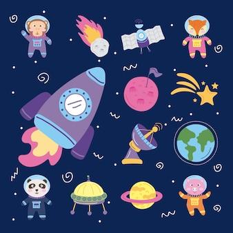 Ustaw kosmiczne ikony i zwierzęta