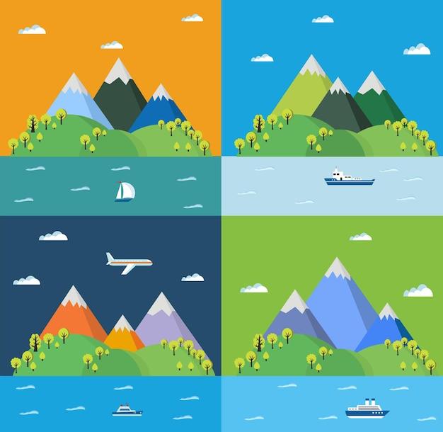Ustaw krajobraz z górami, drzewami i morzem. krajobrazy gór w płaskim stylu do projektowania i projektowania grafiki internetowej.