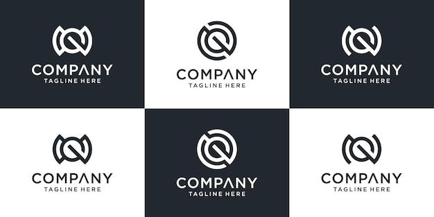 Ustaw kreatywną kolekcję monogram litery ng szablon projektu logo.