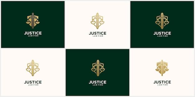Ustaw kreatywne logo sprawiedliwości w kolorze złotym