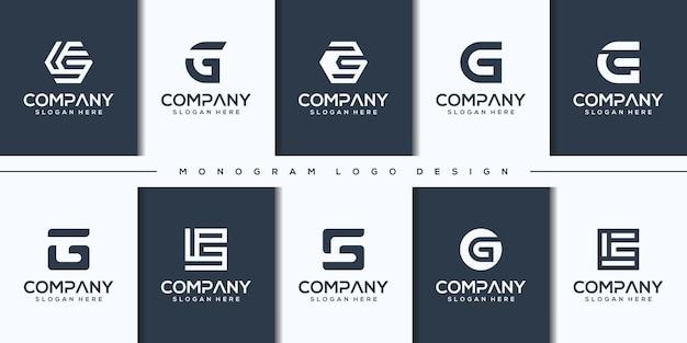 Ustaw kreatywne projektowanie logo litera g