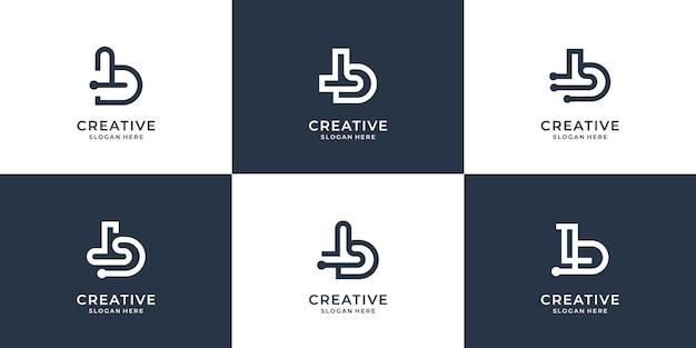 Ustaw kreatywny b abstrakcyjny projektkreatywny monogram b z dot tech i stylem grafiki liniowej wektor premium