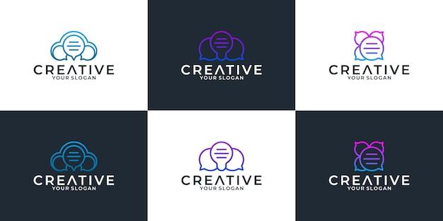 Ustaw kreatywny projekt logo inteligentnego czatu
