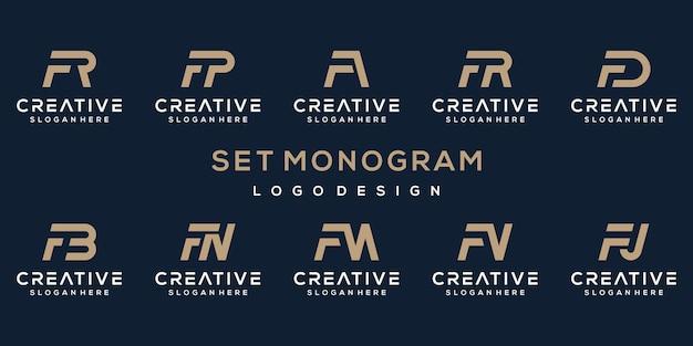 Ustaw kreatywny projekt logo litera f
