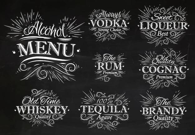 Ustaw kredę menu alkoholowego