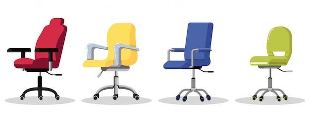 Ustaw krzesła biurowe na kółkach. nowoczesny fotel z regulacją wysokości biurka. widok z boku. mebel do pracy w firmie lub w domu. ikona na białym tle.