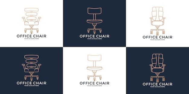 Ustaw krzesło biurowe, kreatywna inspiracja do projektowania logo pracy na krześle