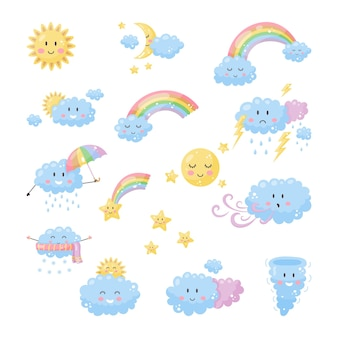 Ustaw ładną pogodę dla dzieci. słońce, księżyc, chmury tęczowe gwiazdy