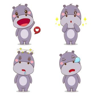 Ustaw ładny hipopotam z innym wyrazem twarzy