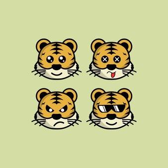 Ustaw ładny tygrys kreskówka głowa z inną ilustracją wektorową ekspresji