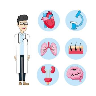 Ustaw lekarza ze stetoskopem i leczenia