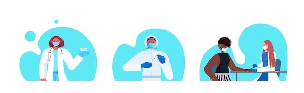 Ustaw lekarzy lub naukowców w maskach trzymających wymaz z nosa covid-19 i szybkie testy laboratoryjne koncepcja pandemii koronawirusa ilustracja wektorowa portretów poziomych