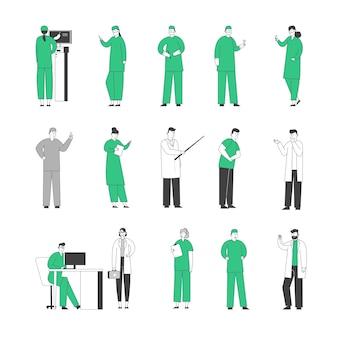 Ustaw lekarzy personelu szpitala w szatach medycznych ze stetoskopem