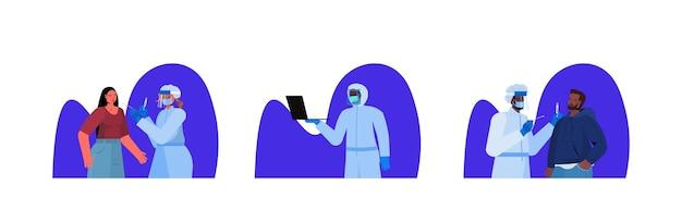 Ustaw lekarzy w maskach pobierających wymazy z próbki koronawirusa od pacjentów rasy mieszanej procedura diagnostyczna pcr covid-19 koncepcja pandemii portret pozioma ilustracja wektorowa
