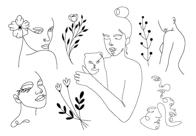 Ustaw liniowe portrety kobiet z elementami kota i kwiatów
