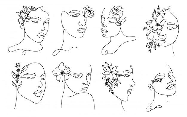Ustaw liniowe portrety kobiet