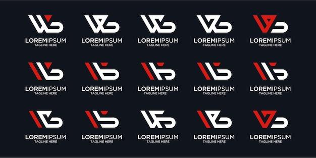 Ustaw literę wb logo projekt monogram wektor