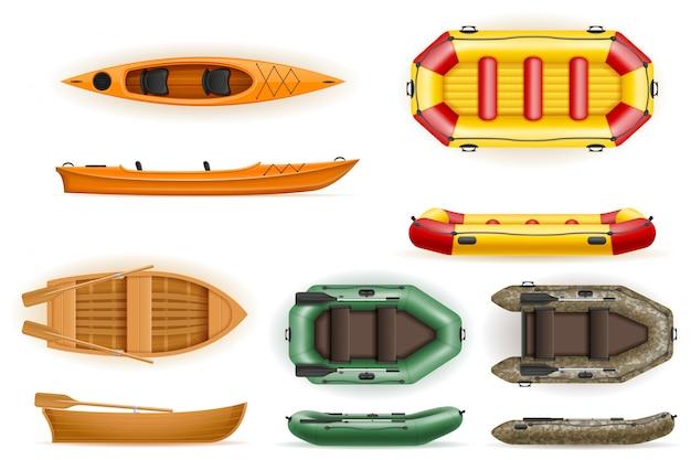 Ustaw łodzie wiosłowe z plastikowej drewnianej i nadmuchiwanej ilustracji wektorowych