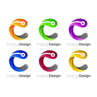 Ustaw logo c z kolorowym szablonem logo w stylu 3d, logo technologii