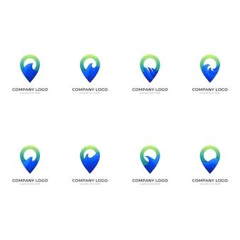 Ustaw logo fali pin, pinezkę i falę, logo kombinacji w stylu niebieskim i zielonym