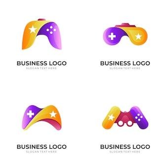Ustaw logo gry gwiazdy, joystick i gwiazdę w kolorowym stylu 3d