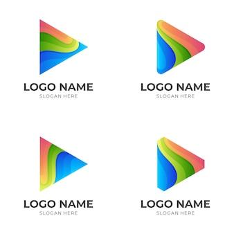 Ustaw logo gry z kolorowym wzorem, szablon 3d